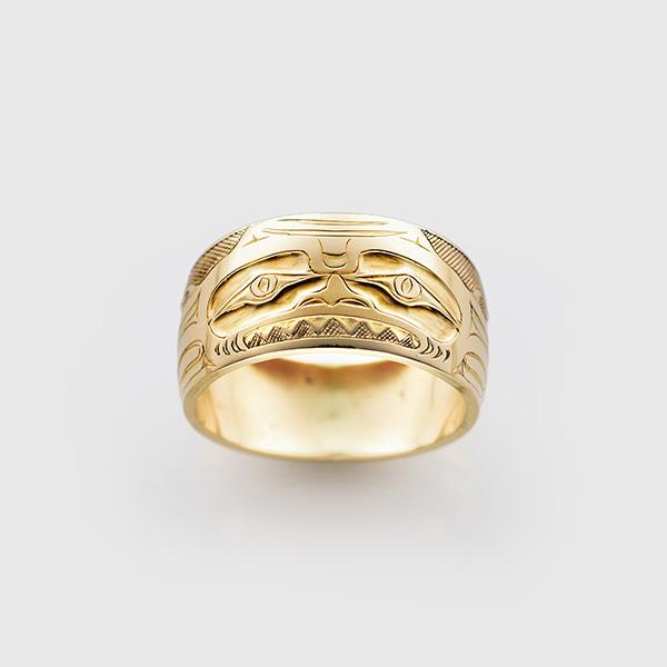 Gold Dogfish Ring by Northwest Coast Native Artist Allen Thompson