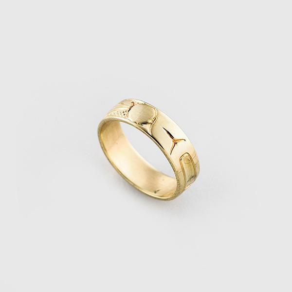 Gold Raven Ring by Native Artist Carmen Goertzen