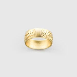 Gold Killerwhale Ring by Native Artist Lloyd Wadhams Jr