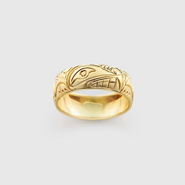 Gold Wolf Ring by Northwest Coast Native Artist Lloyd Wadhams Jr.