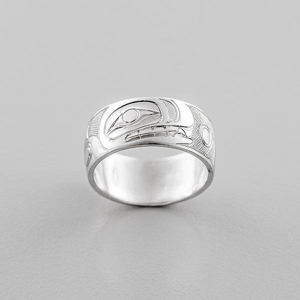 Platinum Killerwhale Ring by Northwest Coast Native Artist Landon Gunn