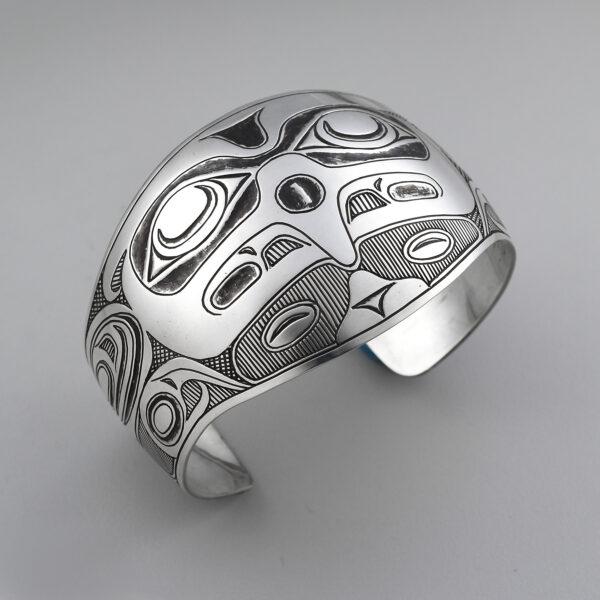Silver Thunderbird Bracelet by Northwest Coast Native Artist Barry Wilson