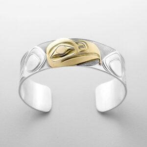 Silver and Gold Eagle Bracelet by Northwest Coast Native Artist Landon Gunn