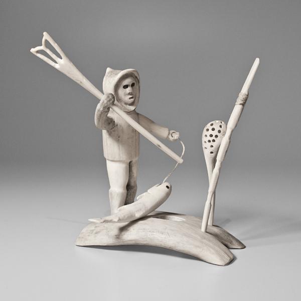 Bone and Antler Hunter Sculpture by Inuit Native Artist Kuunnuiq K.