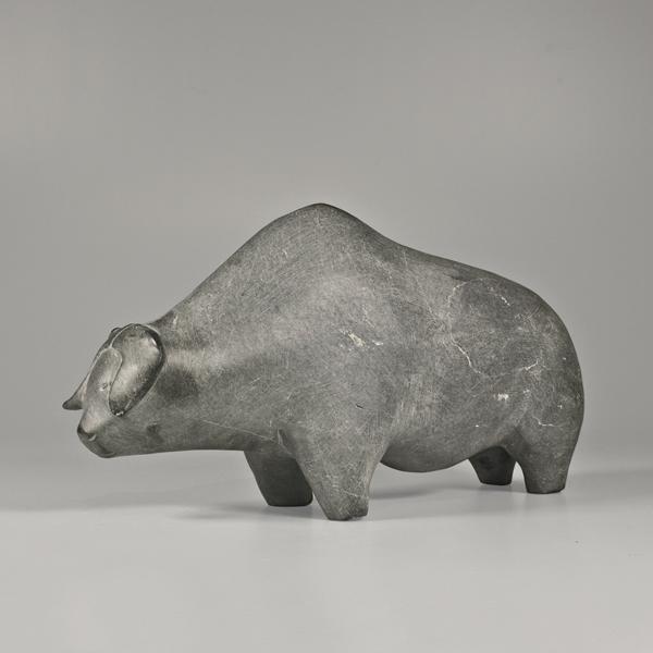 Stone Muskox Sculpture by Inuit Native Artist Mathew Aqigaaq