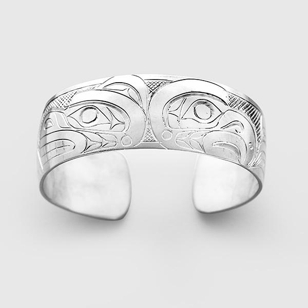 Silver Eagle and Bear Bracelet by Native Artist Don Lancaster
