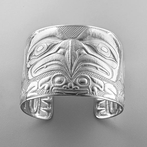 Silver Eagle and Frog Bracelet by Northwest Coast Native Artist Derek White