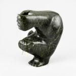 Stone and Bone Walrus Sculpture by Inuit Native Artist Bochu Pudlat
