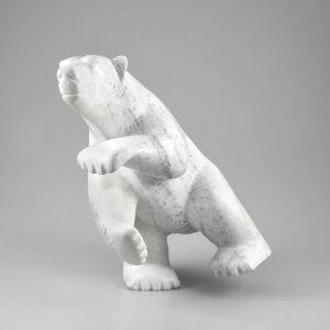 Stone Bear Sculpture by Inuit Native Artist Qoraq Nungusuitok