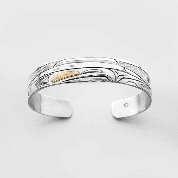 Silver and Gold Killerwhale Bracelet by Northwest Coast Native Artist Corrine Hunt