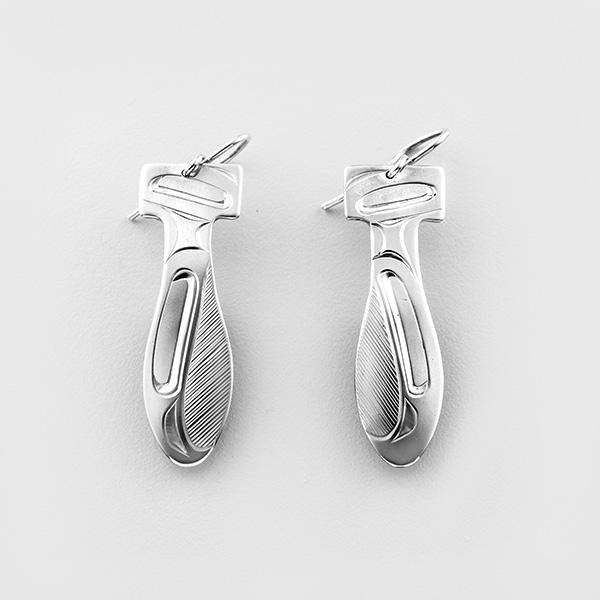 Silver Raven Paddle Earrings by Northwest Coast Native Artist Corrine Hunt