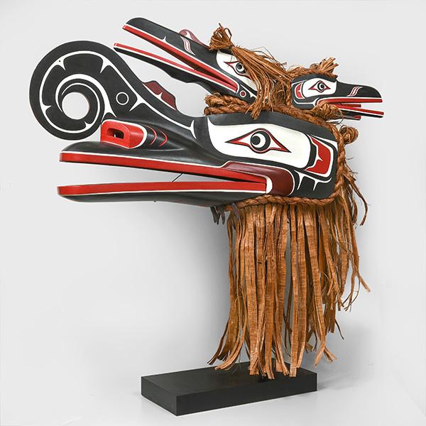 Wood and Bark Hamatsa Mask by Northwest Coast Native Artist Donald Svanvik
