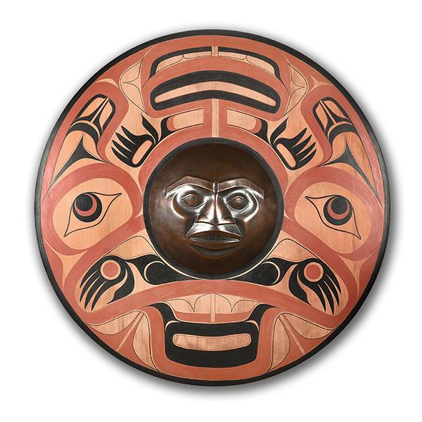 Wood and Bronze Cod and Moon Panel by Northwest Coast Native Artist Joe David