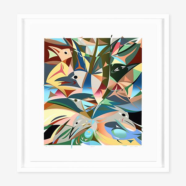 Framed Robins Print in Black by Northwest Coast Native Artist Susan Point