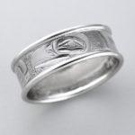 Gold Eagle and Killerwhale Ring by Northwest Coast Native Artist Landon Gunn
