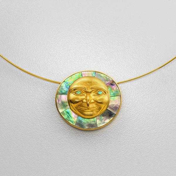 Gold and Abalone Shell Hawk Moon Pendant by Northwest Coast Native Artist Rick Adkins