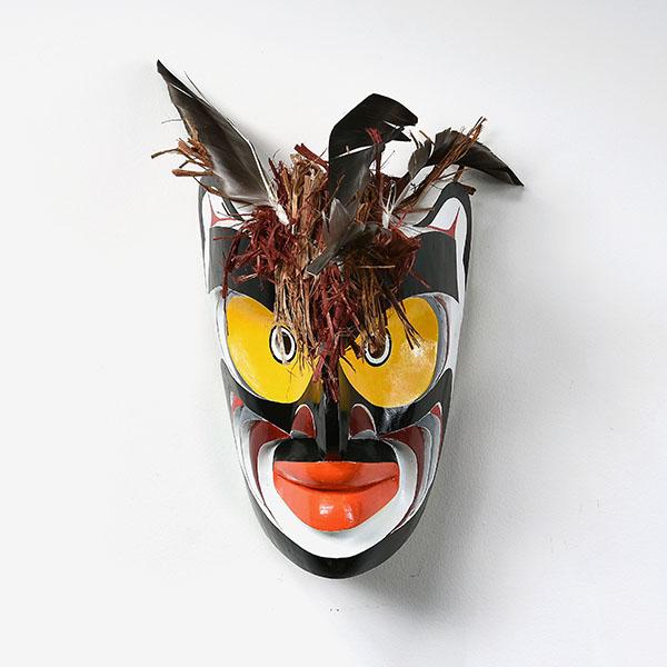 Wood and Bark Bukwus Mask by Northwest Coast Native Artist Joe David