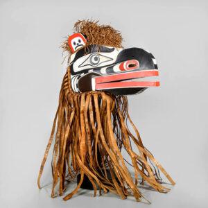 Wood and Bark Raven Mask by Northwest Coast Native Artist Joshua Dawson