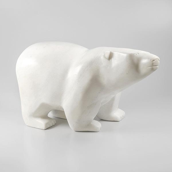 Stone Bear Sculpture by Inuit Native Artist Joanie (Joani) Ragee