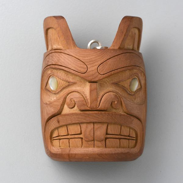 Wood and Abalone Shell Beaver Amulet by Northwest Coast Native Artist Ron Russ