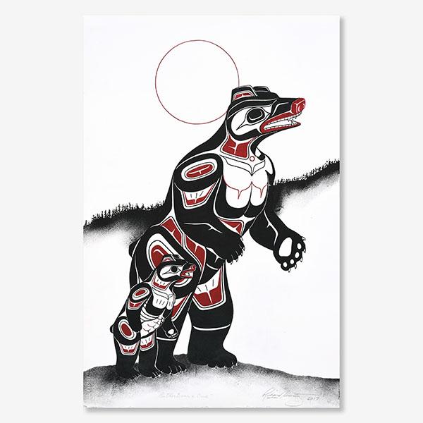 Mother & Bear Cub Original Painting by Northwest Coast Native Artist Richard Shorty