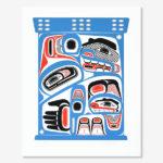 Serigraph Hummingbird and Bear Bentwood Box Print by Northwest Coast Native Artist David Neel