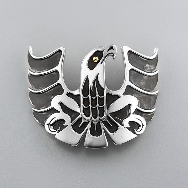 Silver and Gold Eagle Pendant by Northwest Coast Native Artist Wayne Wilson