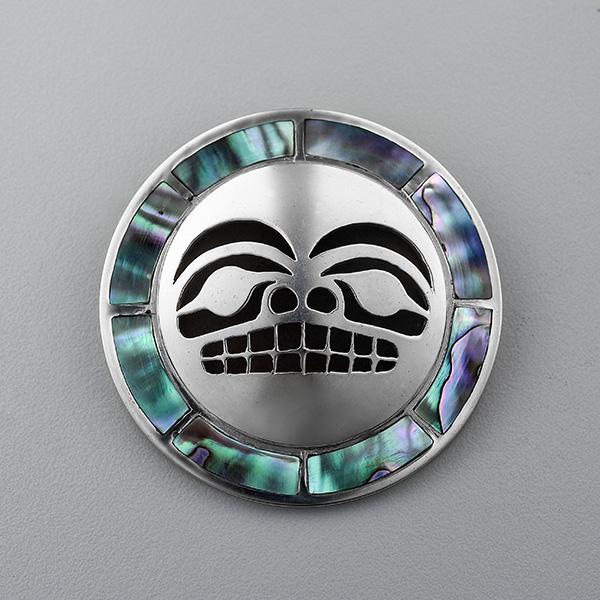 Silver and Abalone Shell Sun Pendant by Northwest Coast Native Artist Wayne Wilson