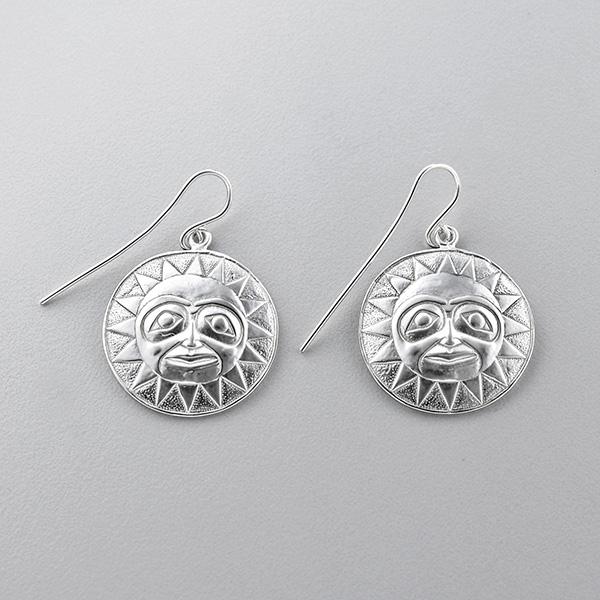 Silver Sun Earrings by Northwest Coast Native Artist Lyle Wilson