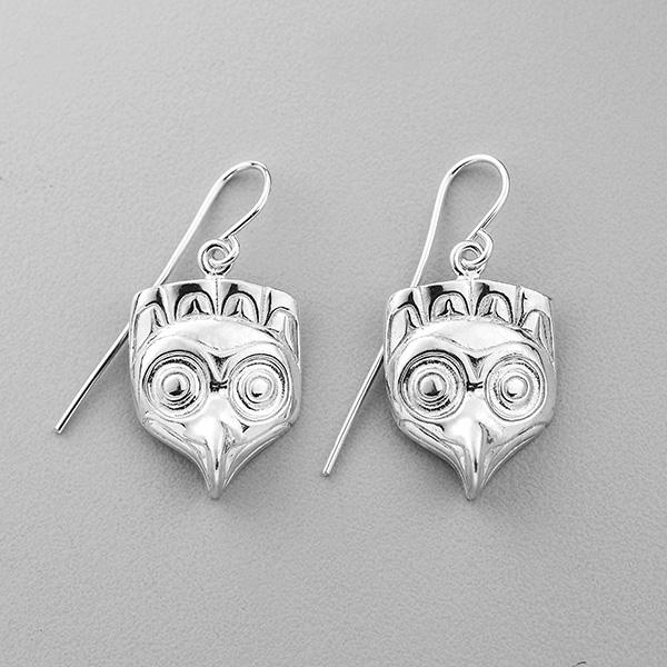 Silver Owl Earrings by Northwest Coast Native Artist Lyle Wilson