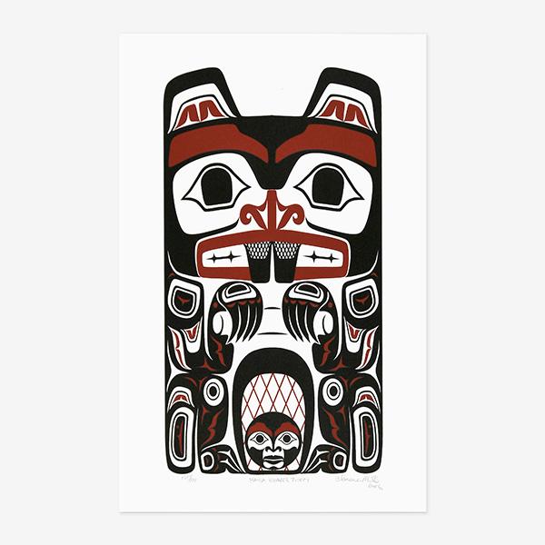 Haida Beaver Totem print by Native Artist Clarence Mills