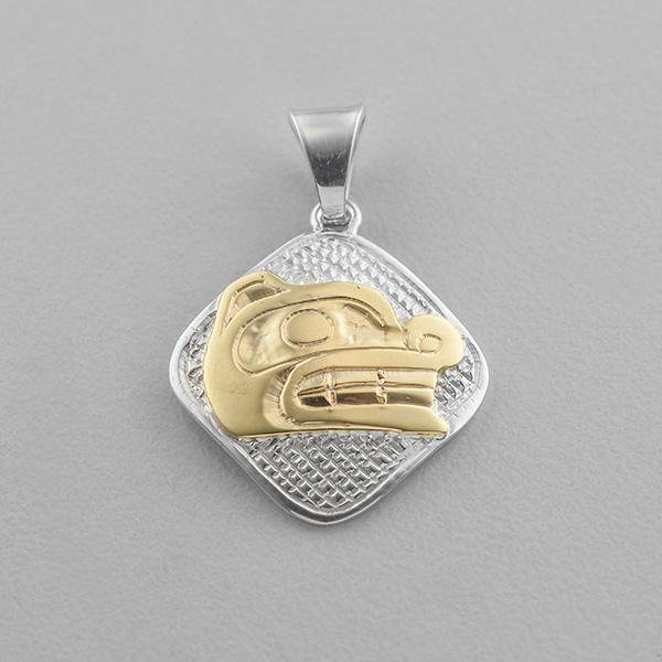 Silver and Gold Bear Pendant by Northwest Coast Native Artist Carmen Goertzen