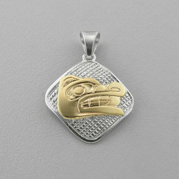 Silver and Gold Wolf Pendant by Northwest Coast Native Artist Carmen Goertzen