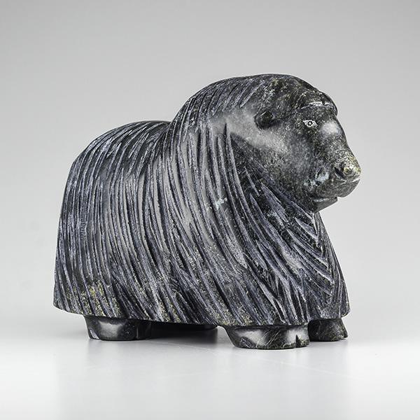 Stone Muskox Sculpture by Inuit Native Artist Pits Qimirpik