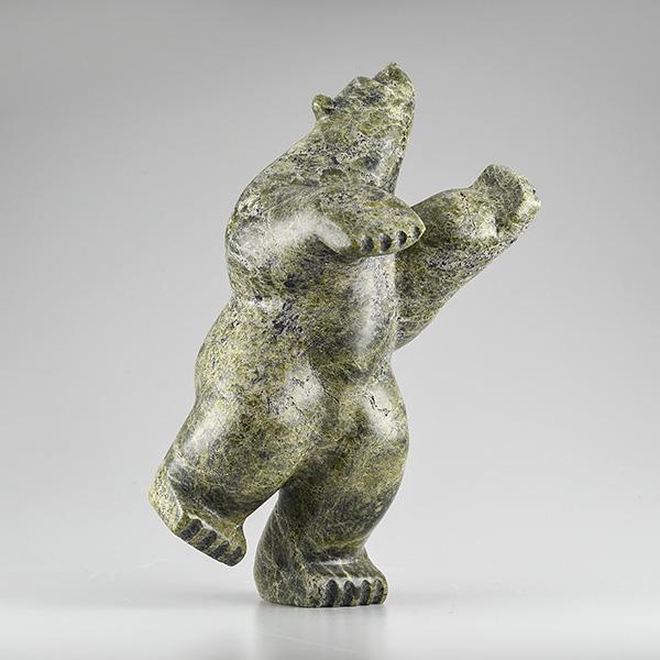 Stone Bear Sculpture by Inuit Native Artist Abe Simeonie
