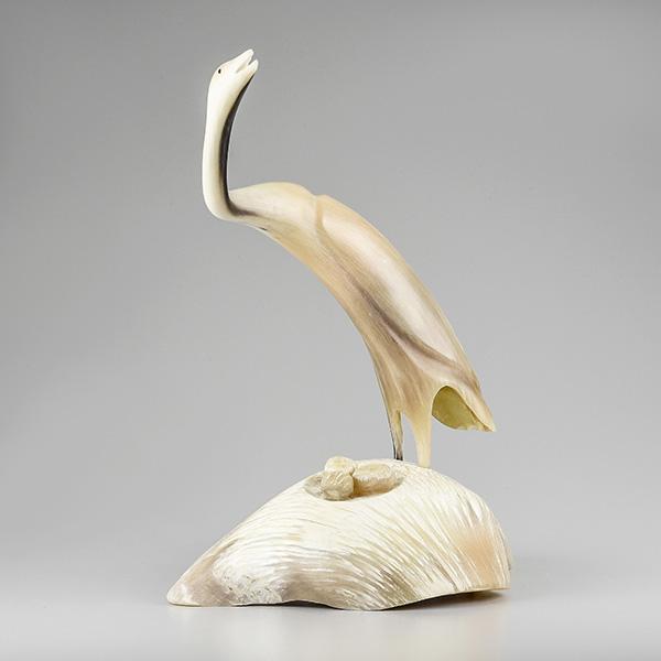 Muskox Horn Bird Sculpture by Inuit Native Artist Buddy Alikamik