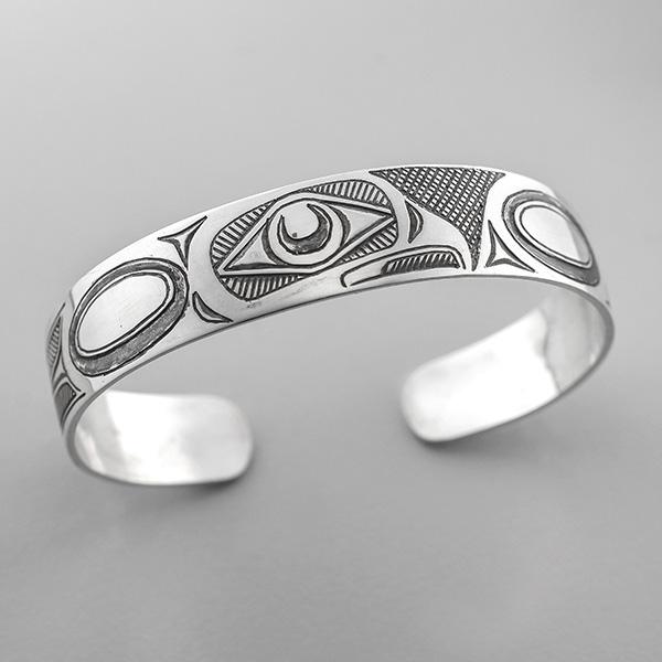 Silver Owl Bracelet by Northwest Coast Native Artist Barry Wilson