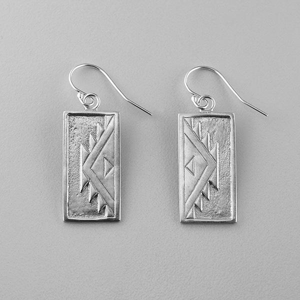 Silver Weaving Design Earrings by Northwest Coast Native Artist Sharifah Marsden