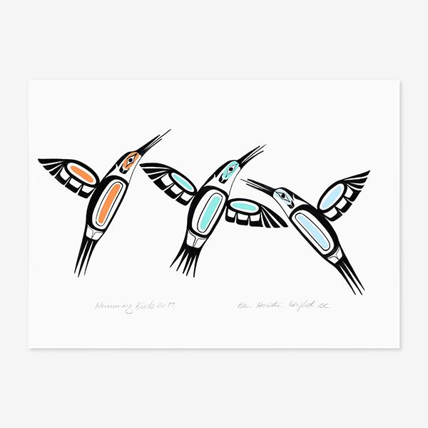 Hummingbirds Original Painting by Northwest Coast Native Artist Ben Houstie