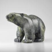 Stone Bear Sculpture by Inuit Native Artist Issaci Petaulassie