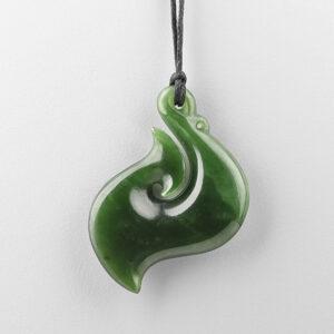 Jade Hei Matau Pendant by Maori Artist Ross Crump