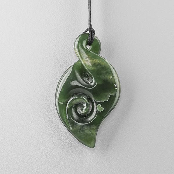 Jade Pikorua Pendant by Maori Artist Ross Crump