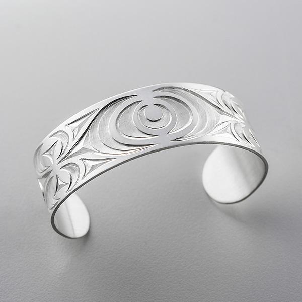 Silver Salish Design Bracelet by Northwest Coast Native Artist Dylan Thomas