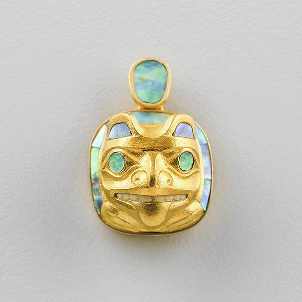 Gold and Abalone Shell Bear Pendant by Northwest Coast Native Artist Jay Simeon