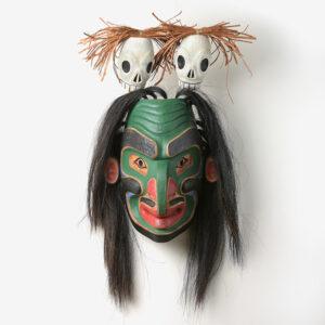 Wood, Bark, Hair, and Acrylic Paint Bukwus Mask by Northwest Coast Native Artist David Neel