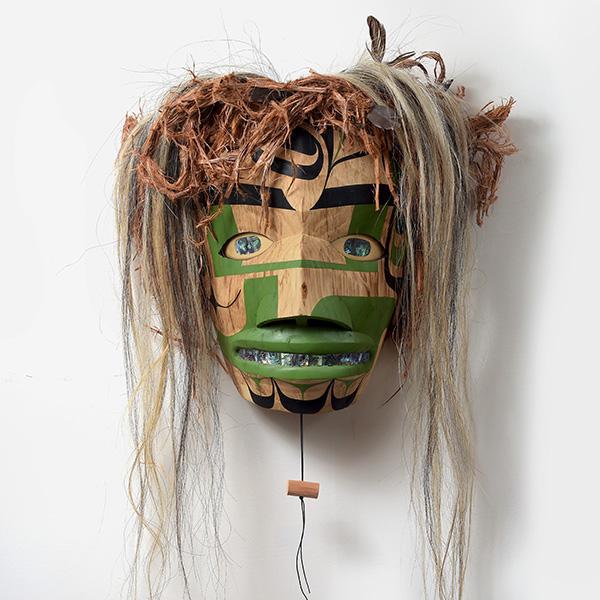Wood, Bark, Hair, and Abalone Shell Shaman Mask by Northwest Coast Native Artist Moy Sutherland