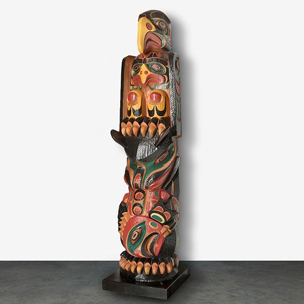 Wood, Eagle, Bear, and Salmon Totem Pole by Northwest Coast Native Artist Tom D. Hunt