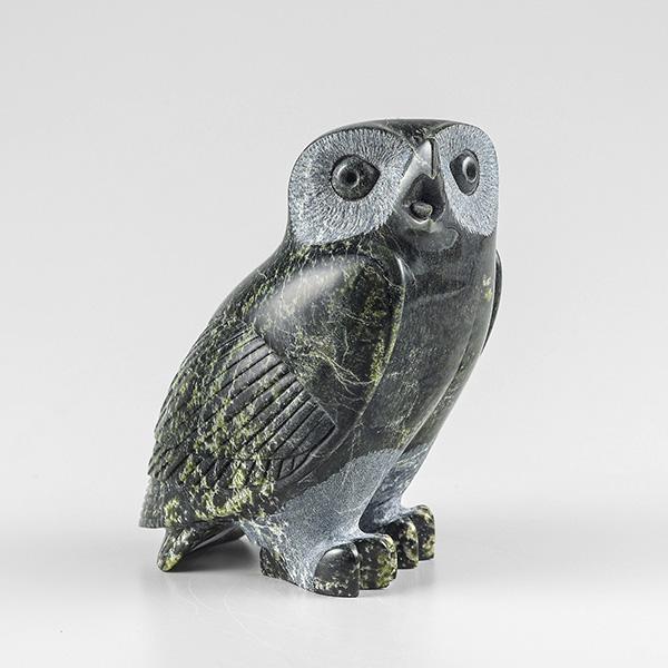 Stone Owl Sculpture by Inuit Native Artist Bobby Pitsiulak Qimirpik