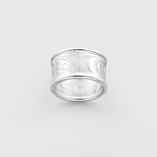 Silver Wolf Ring by Northwest Coast Native Artist John Lancaster