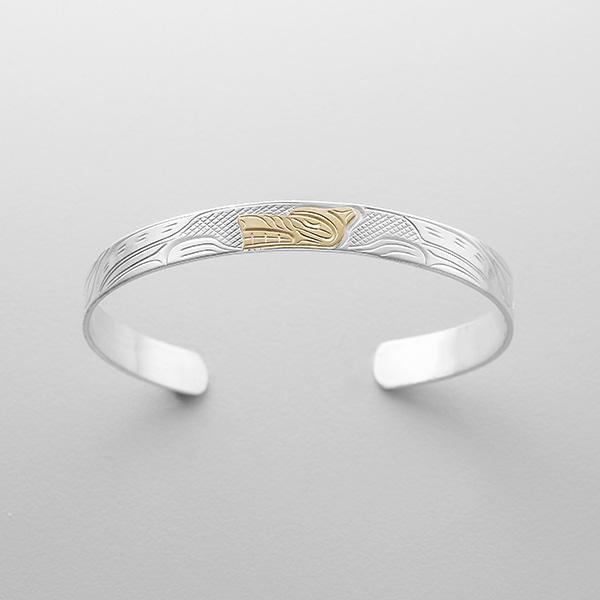 Silver and Gold Wolf Bracelet by Northwest Coast Native Artist John Lancaster